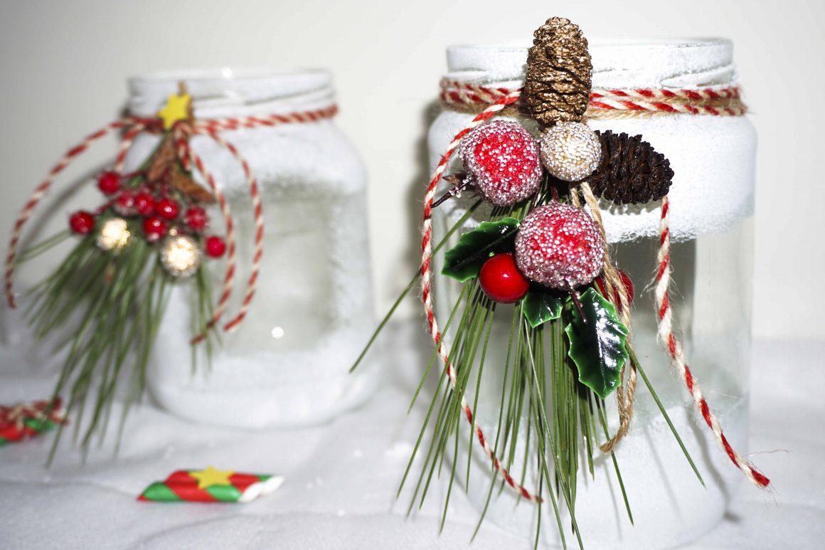 Χιονισμένα χριστουγεννιάτικα βάζα σαν αληθινά