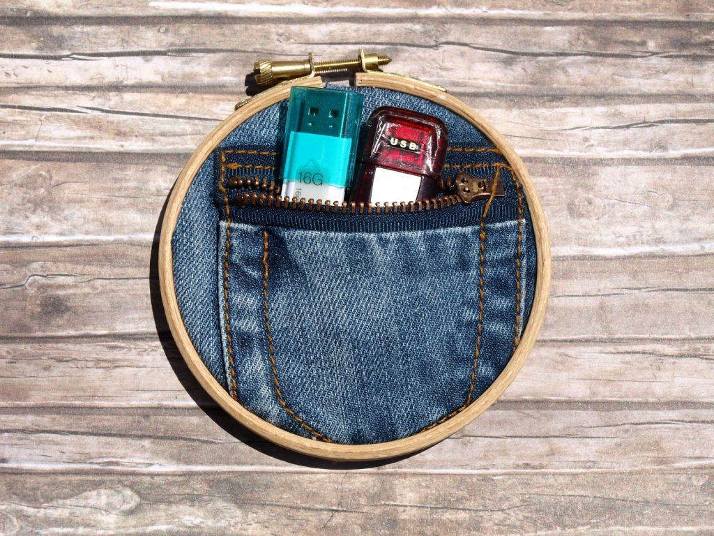 Τελάρα κεντήματος με τσέπες από τζιν