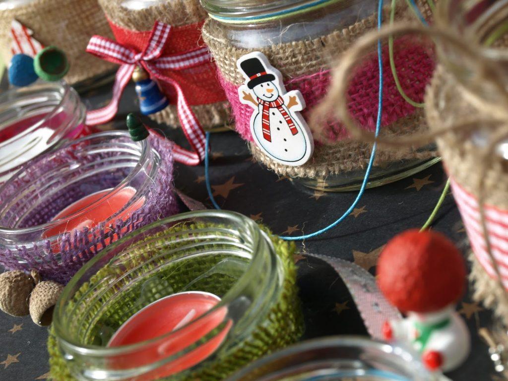 Χριστουγεννιάτικα κηροπήγια από παλιά βάζα
