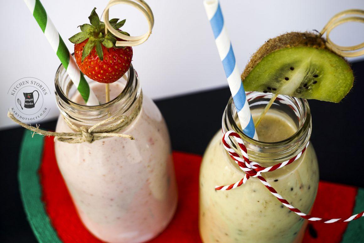 Δροσερά smoothies με φρούτα και γάλα