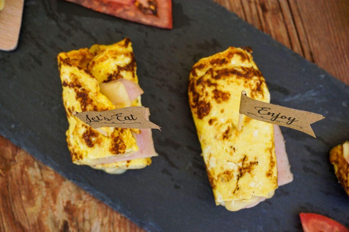 Ρολάκια ομελέτας με τυρί και ζαμπόν
